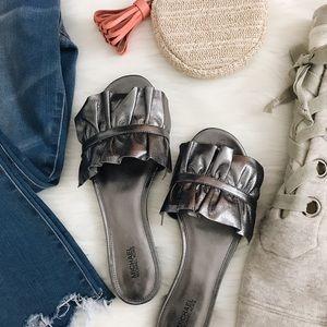 Michael Kors Ruffled Leather Slide